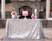 Silver Sequin Tablecloth custom sizes available