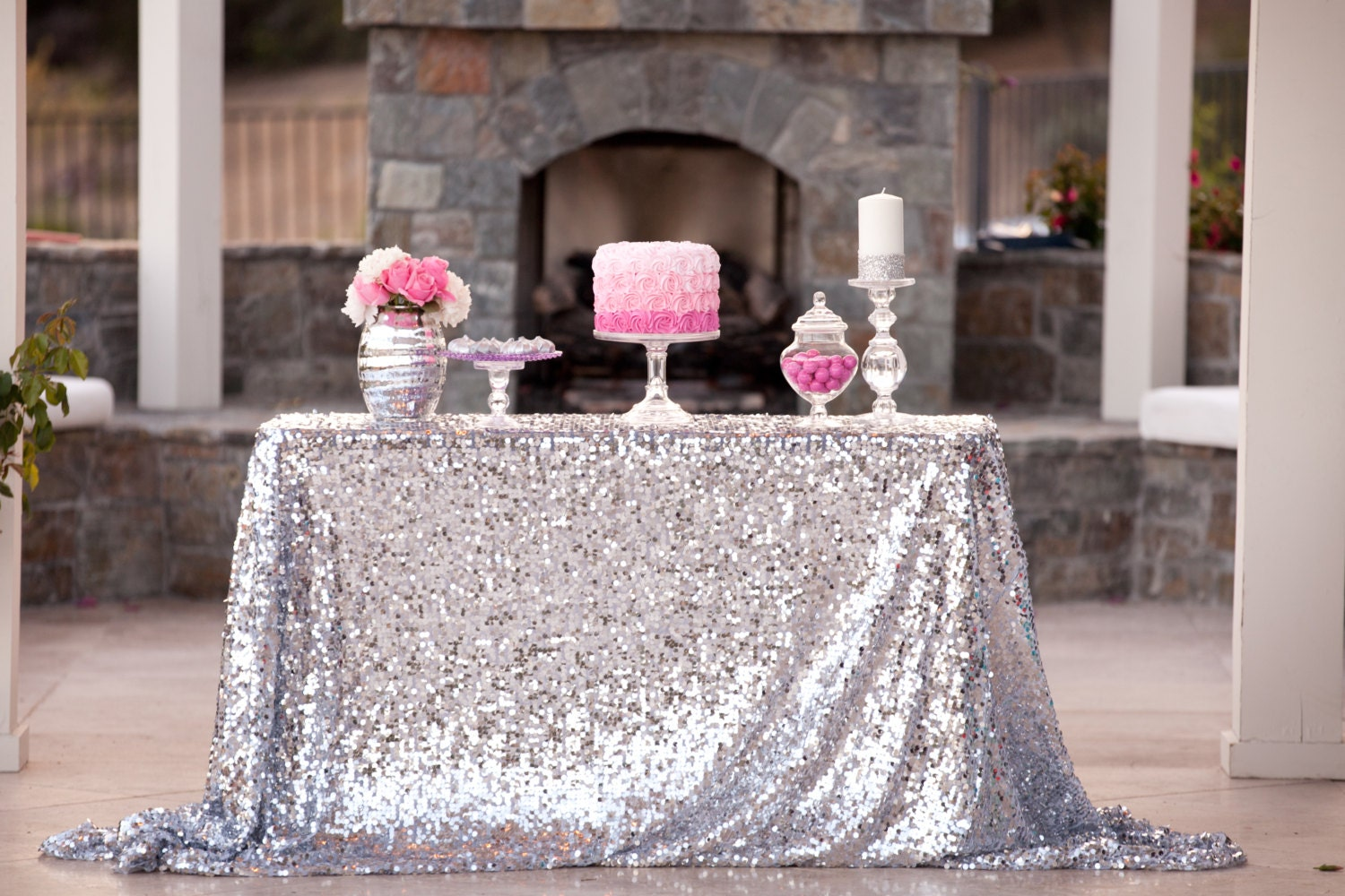 Silver Sequin Tablecloth custom sizes by CandyCrushEvents ...