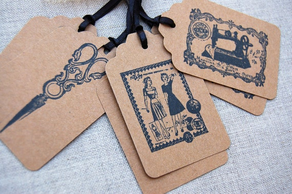 Sewing Tags, Set of 6 Vintage Style Sewing/ Seamstress Gift Tags -Vintage Sewing Machine, Scissors, and Women's Dress Pattern Advertisement