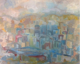 """LANDSCAPE, abstract Orginal OIL Painting Stretched  on Canvas  ,  50 X 60 cm.   20"""" x 24"""",Art painting,."""