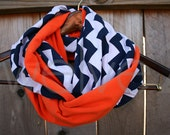 Infinity Scarf // Navy Blue Chevron/Orange Solid Jersey Knit // Toddler/Girls/Womens/LONG // Chicago Bears/Broncos/UVA/Auburn/Florida