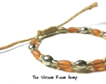 SALE // Natural Adjustable Beaded Hemp Bracelet with Glass and Metal Beads