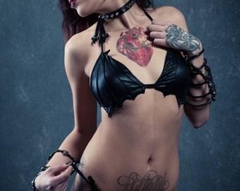 Batwing Bikini Bra Vampire Bat Swimsuit Gothic Horror Outfit Black Nosferatu Top Chiroptera Swimwear Nocturnal Beach Wear Goth Party