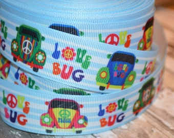 LOVE BUG Grosgrain Ribbon...By the Yard...1 Inch Wide...Perfect for hair bows, paci clips, key fobs, clothing, and sewing projects!