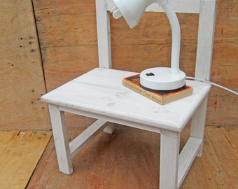 childrens rustic white chair / bedside table / wooden chair, this chair is extra wide so would look great as a cute little bedside table.