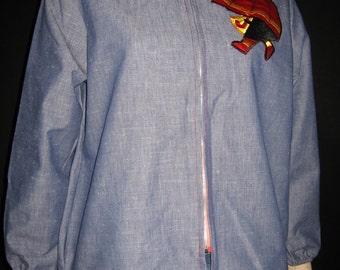 Vintage Blue Chambray Band Collar Jacket Novelty Applique Umbrella NOS 13 50s