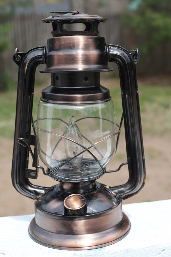 Electric Hurricane Lantern Rustic COPPER Table Lamp
