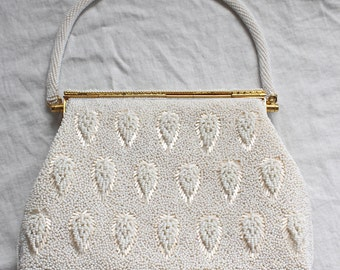 SALE 25% OFF: 1960's Beaded Purse with Leaf Pattern