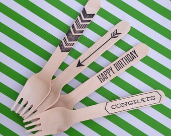 personalized party / wood cutlery / spoons / forks / knives / stamped / disposable / birch / USDA certified / sustainable forest