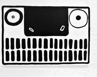 FACE - 24 x 36 inch Canvas - Large Face Painting Black and White Abstract Face Painting Original Canvas Art Crazy Modern Art - LYNDA BLACK