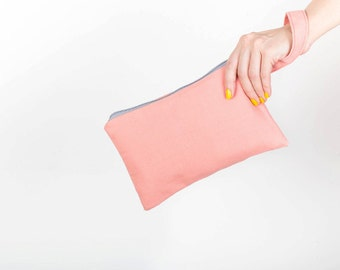 Pink Canvas Wristlet, Simple Clutch, Diaper Bag, Removable Pouch, Waterproof Lining