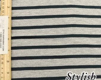 Heather Gray and Hunter Green Stripes Yarn Dyed Rayon Spandex Jersey Fabric, Stretch Jersey Fabric, Stripes Stretch Jersey- 1 Yard Style 431