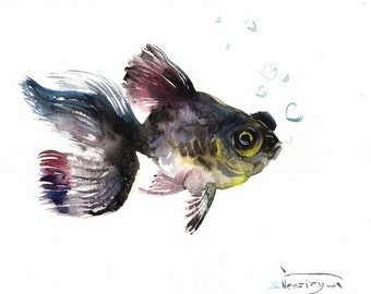 Black Moor, Original watercolor painting, 9 X 12 in, black fish art, aquarium fish painting,