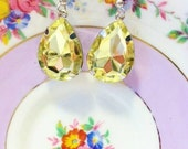 Yellow Rhinestone Earrings - Rhinestone Jewelry - Romantic Jewelry - LIGHT WEIGHT