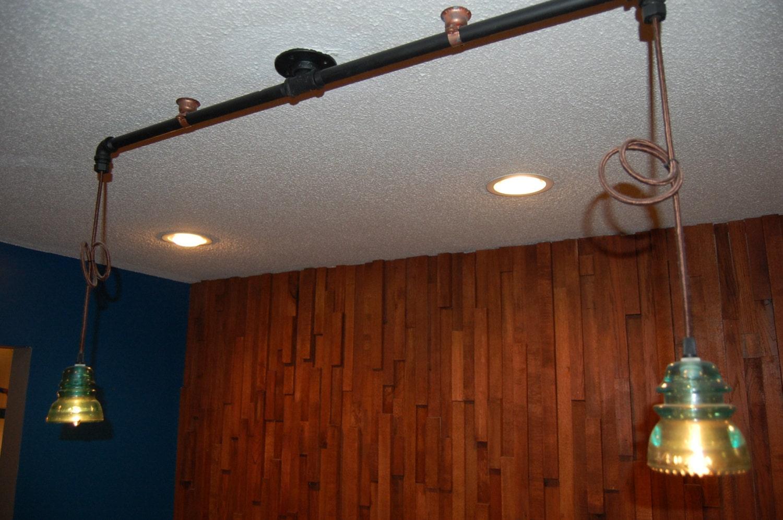 Black pipe glass insulator ceiling light for Pipe ceiling lighting