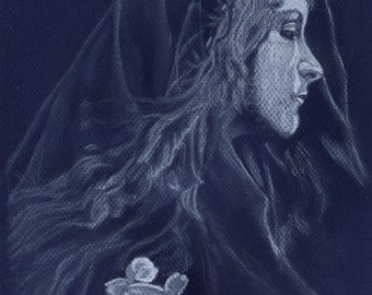 Blue Lady - Original drawing in pastels on blue paper by Tuulia Tamminen, size 8,3 x 11,4 inches (A4)
