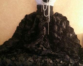 Onyx Rose Goddess Black & White Natural Waist Bridal Wedding Formal Ball Gown