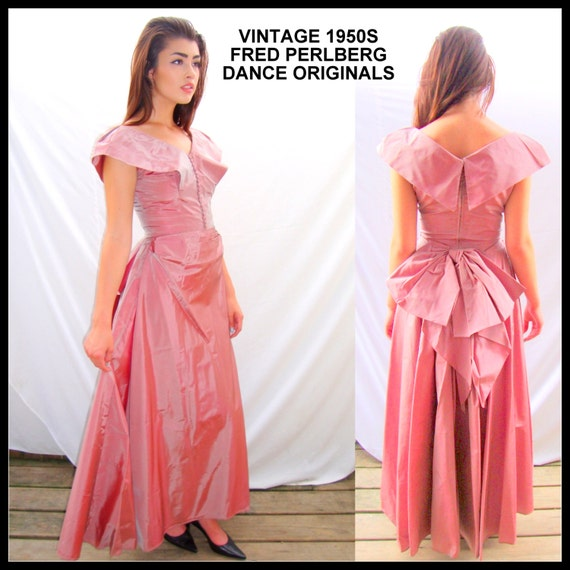 "Vintage 1950s Fred Perlberg evening gown, 1940s, formal, ball gown, dusty rose, taffeta, mid century,wedding, size XS/ SM 24"" waist"