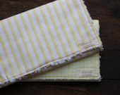 Gender Neutral Burp Cloths // Set of 2 // Yellow and White Stripes & Check