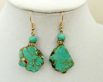 Turquoise Statement Earrings - Turquoise Earrings - Dangle Earrings - Blue Earrings - Wedding Earrings