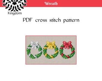 Christmas, Winter Holiday Wreath - Cross Stitch pattern- PDF