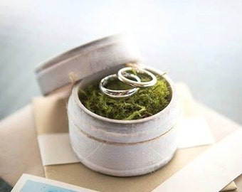 Ring Bearer Pillow Box with Moss, I Promise, Rustic Vintage Wedding