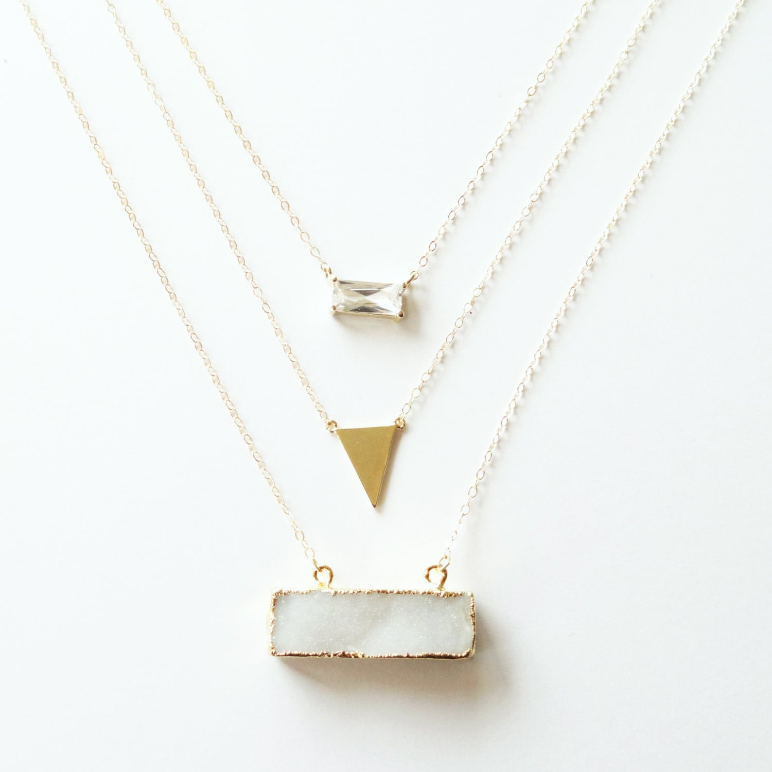 14k gold layered druzy bar necklace with gold by landonlacey
