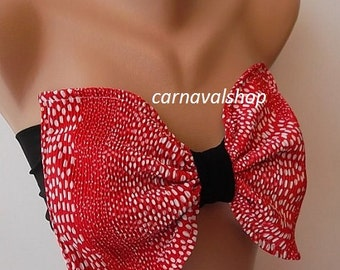 Bow Bandeau Bow top Red polka dot