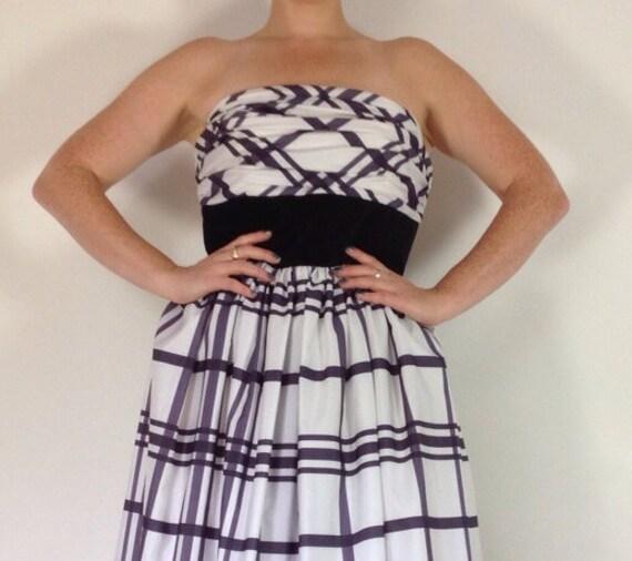 Vintage dress tartan ballgown black white plaid checkered strapless monochrome tartan evening gown uk14 16 ballgown VLV 1950s style party