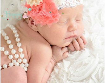 Coral White Lace headband, Coral Headband, white headband, newborn headband, baby girls headband, birthday headband, flower girl headband