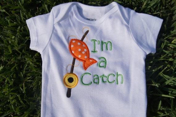 Items similar to i 39 m a catch fishing shirt or onesie on etsy for Fishing shirt onesie
