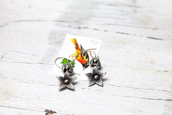 Loosestrife OOAK hand made fine silver flower earrings by ladeDAH! jewelry