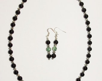Artisan Beaded Necklace Set - Black and Green Harlequin          S316