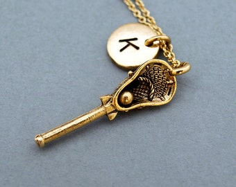 Lacrosse charm necklace, Lacrosse stick necklace, antique gold, initial necklace, personalized, monogram