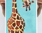 Giraffe with green leave : Art Print Poster A3 Illustration Giclee Print Wall art Wall Hanging Wall Decor Animal Painting Digital Art
