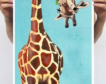 Giraffe with green leave : Art Print Poster A3 Illustration Giclee Print Wall art Wall Hanging Wall Decor Animal Painting Digital Art