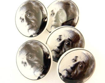 5 Albert Einstein Sewing Buttons.  Handmade Buttons. Shank Buttons.