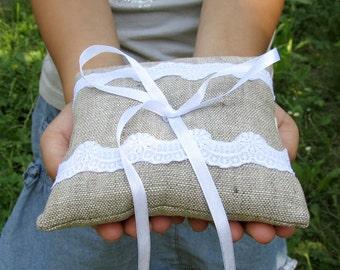 Wedding Bearer Ring Pillow with White Cotton Lace