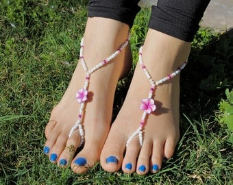 White, Pink and Purple Hawaiian Flowers Barefoot Sandals, Slave Anklet, foot thong, ankle bracelet with toe ring