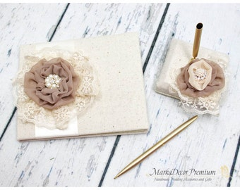Sale! READY TO SHIP Wedding Lace Linen Guest Book Custom Bridal Brooch Guest Books Pen Holder Set Custom in Champagne Ivory Cream Tan Latte