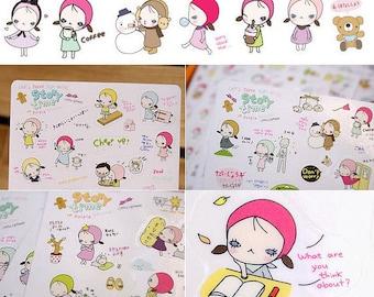 Korean Sticker - Story Time Diary Sticker Set - Diary Sticker - Deco Sticker - Kawaii Sticker - 6 sheets PVC sticker