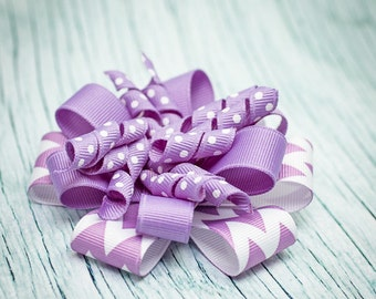 Orchid Purple and White Chevron Stacked Korker Bow