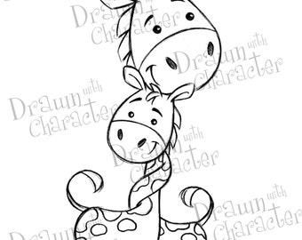 Mommy and Baby Giraffe  Mother's Day Digital Stamp/ KopyKake Image