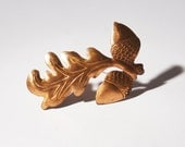 Copper Leaf Acorn Brooch - Modernist Pin - Vintage Jewelry - Renoir Rebajes Style - Signed