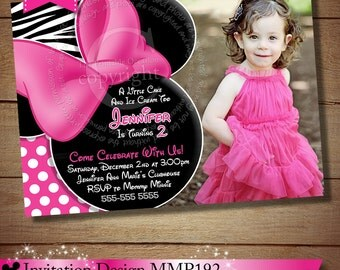 HUGE SELECTION Zebra Minnie Mouse Invitation, Pink Black Zebra Minnie Mouse Invitation, Minnie Mouse Photo Invitation, 2nd 3rd 4th Birthday