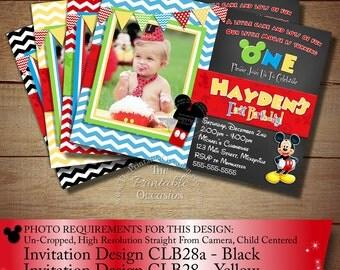HUGE SELECTION Chevron Mickey Mouse Invitation, Birthday Invitation, Mickey Mouse Clubhouse, Photo Invitation, Chalkboard Invitation