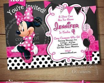 HUGE SELECTION Chalkboard Minnie Mouse Birthday Invitation, DIY Minnie Mouse Invitation, Girls Chalkboard Invitation, Minnie Mouse Birthday