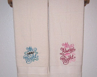 His And Hers Towel Set Mr Right Mrs Always Right Bath Towels