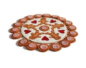 PDF Ging-y-bread PDF Penny Rug Pattern gingerbread men peppermints cinnamon red white Arlene MacAusland design canteam ofg instant download