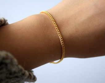 Gold Plated Curb Chain Bracelet, Gold Plated Jewelry, Arm Candy, Accessories, Stocking Fillers, Gold Chain